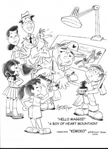 An illustration by Willie Ito that includes characters from his projects, including his newest character Kimiko.