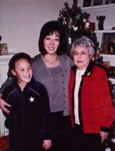 Marlene Shigekawa (center) with her daughter, Quincy Godin, and mother, Misako. Photo courtesy of Marlene Shigekawa