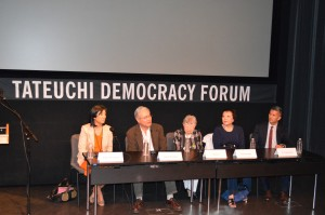 (From left) Shirley Ann Higuchi, Darrell Kunitomi, Toshi Ito, Patti Hirahara and G.W. Kimura speak on the panel. Photo by Connie K. Ho