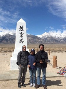 "The filmmakers of ""For the Sake of the Children"" (from left) Joe Fox, Marlene Shigekawa and James Nubile at the 45th Manzanar Pilgrimage. Photo courtesy of Marlene Shigekawa"