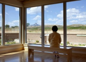 A reflective room with a view of Heart Mountain at the Heart Mountain Wyoming Foundation Interpretive Learning Center. Photo by Kevin J. Miyazaki