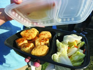 Stinky tofu bento box served with pickled cabbage prepared at the market. Photo by Tiffany Ujiiye
