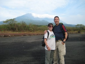 Rod and Cheryl Kuratomi pose for a picture with Mount Meru in the background. Photo courtesy of Rod Kuratomi
