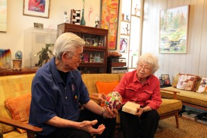 Yosh and Grace Nakamura have their family's art on permanent display in their sitting room in Whittier, Calif. Photo by Eric Swanson