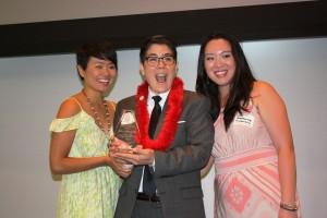 (From left) PSW's Traci Ishigo, Governor's Award honoree riKu Matsuda and PSW Regional Director Stephanie Nitahara. Photo by Gary Mayeda