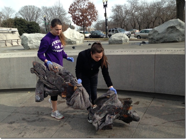 GWU Students Clean National Japanese American Memorial to Patriotism