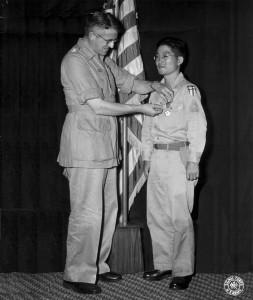 Roy receiving the Legion of Merit from Gen. Frank Merrill.