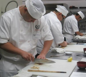 A class during session at the Sushi Chef Institute.