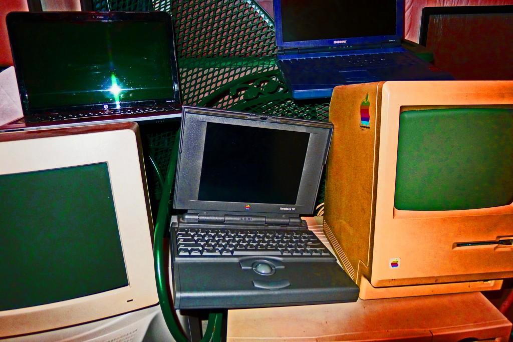 A sampling of Gil Asakawa's old computers that are in his basement at home. Photo by Gil Asakawa