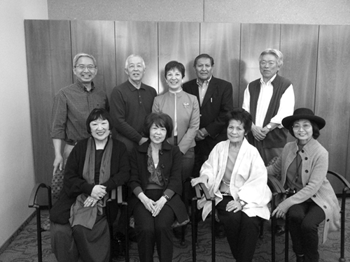 The New Mexico JACL Chapter recently hosted the first teacher-training workshop funded by the Japanese American Confinement Sites grant. Among those who participated are (front row, from left) Nikki Nojima Louis, Ikuko Begay, Esther Churchwell, Jennifer Yazawa and (back row, from left) Steve Togami, Greg Marutani, Sharon Ishii-Jordan, Davis Begay and Victor Yamada. Not pictured: Andrew Russell, professor at Central New Mexico Community College