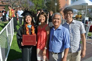 Yamashiro and family at her master's graduation ceremony at USC. Photo courtesy of Michelle Yamashiro