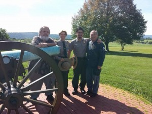 (From left) Chief Historian at the Antietam National Battlefield Ted Alexander, Coordinator of Civil War to Civil Right Carol Shively, Steve Phan and Irving Moy  at the Antietam National Battlefield. Photo courtesy of Steve Phan