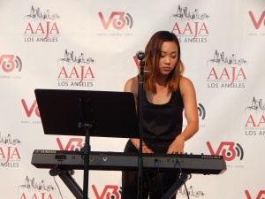 Priscilla Liang (stage name Priska) performs at the V3con opening-night  reception at the Japanese American National Museum.