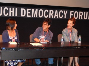 (From left) Tanzila Ahmed, Andrew Ti and Ann  Friedman participate in a podcasting panel at V3con. Photos: Laylita Day
