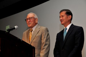 Lawson Sakai, 442nd RCT veteran (left), thanks Secretary Eric Shinseki on behalf of Nisei veterans.