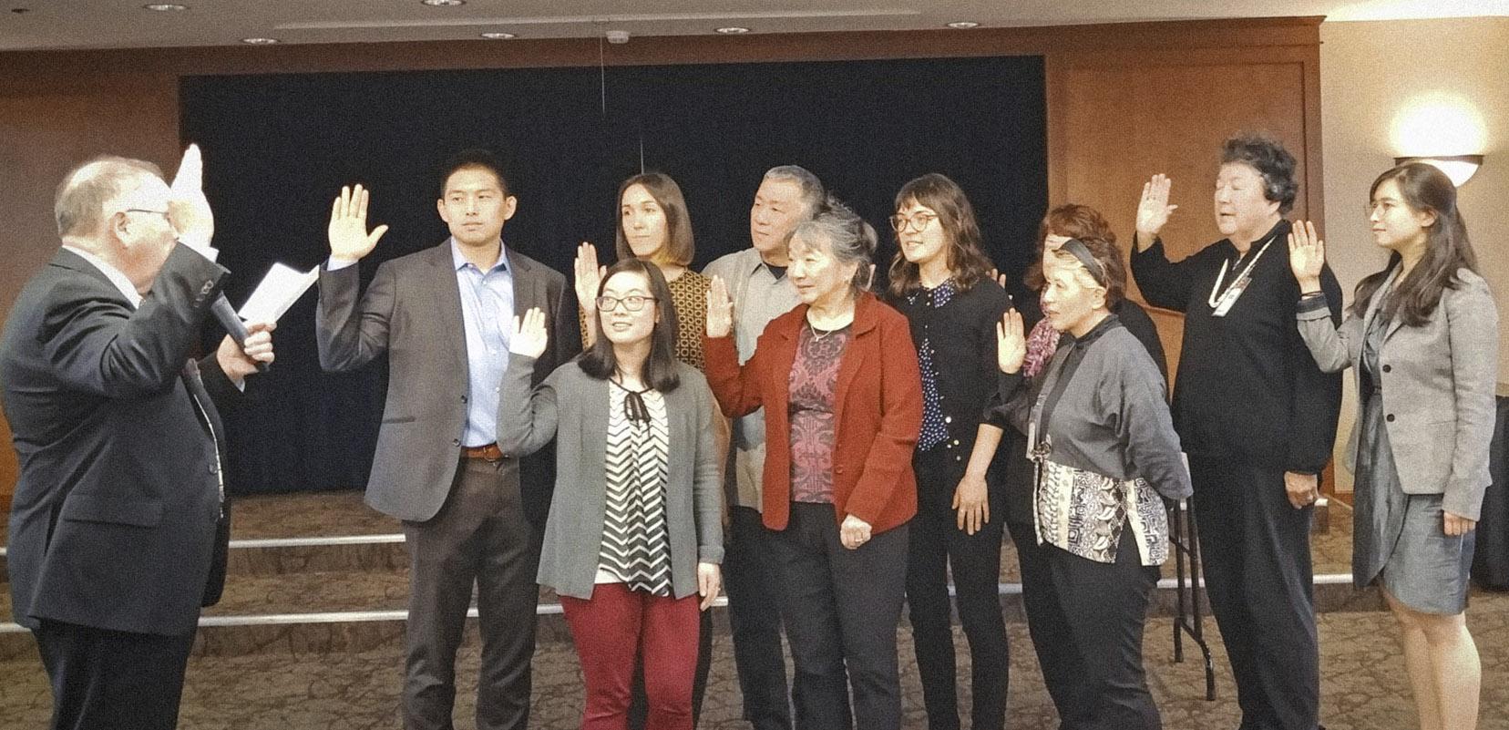 This year's officers include (back row, from left) Chris Lee, co-president; Amanda Shanahan, co-president; Jeff Matsumoto, vp; Jennifer Yamada, board member; Heidi Tolentino, secretary; Setsy Larouche, membership chair; and Sachi Kaneko, board member; and (front row, from left) Jillian Toda-Currie, treasurer; Marleen Wallingford, past chapter president and board member; and Connie Masuoka, board member.